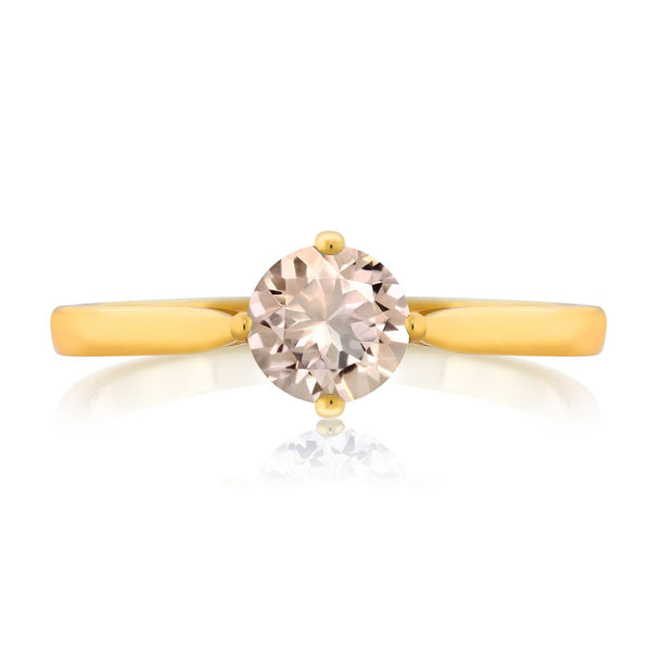 0.60 Ct Round Natural Peach Morganite Brass Gold Plated Ring