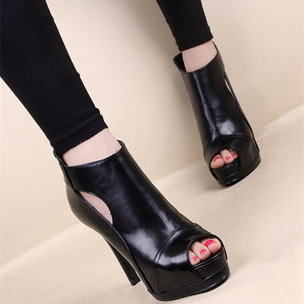 Platform Black Pep Toe leather Ankle Boots  high heels