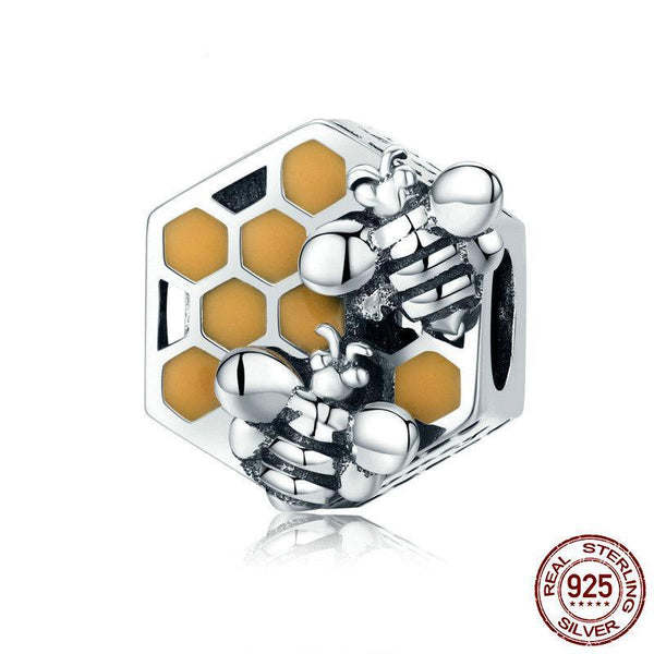 925 Sterling Silver Honey Bee Square Charm - ALLUNIK SHOP