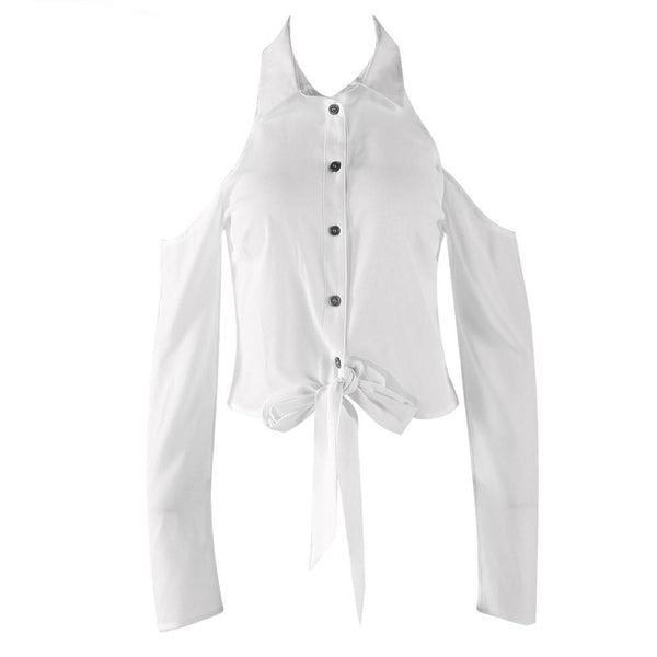 Cold shoulder lapel buttons long sleeve lace up shirt