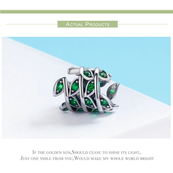 925 Sterling Silver Green Tree Leaves Charm - ALLUNIK SHOP