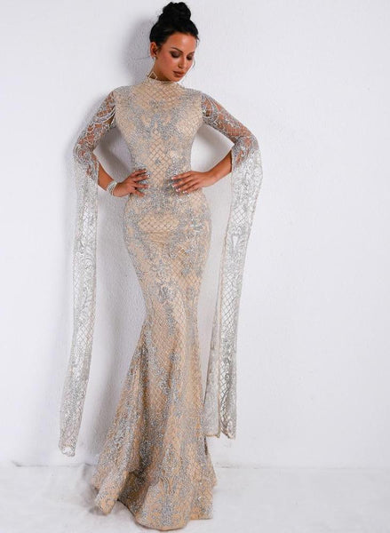 High Neck Ultra Long Sleeve Split Glitter Maxi Party Dress