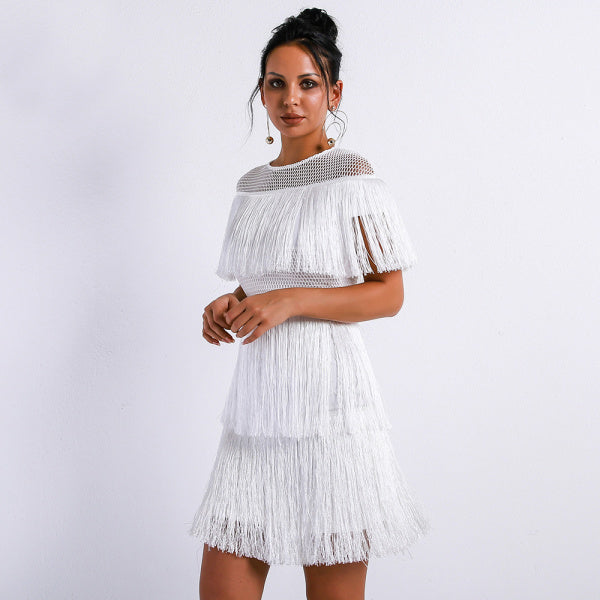 Hollow Out Tassels short white dress