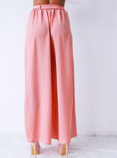 Sash elastic high waist pleated summer capri pants