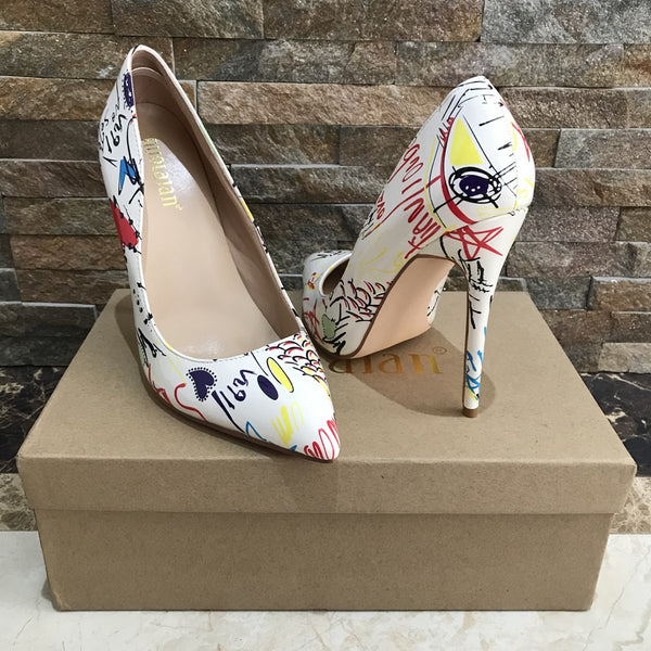 Fashion Graffiti Colourful PU Leather high heels