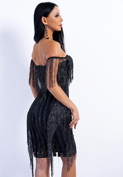 Off Shoulder Striped Glitter Tassel Party Dress