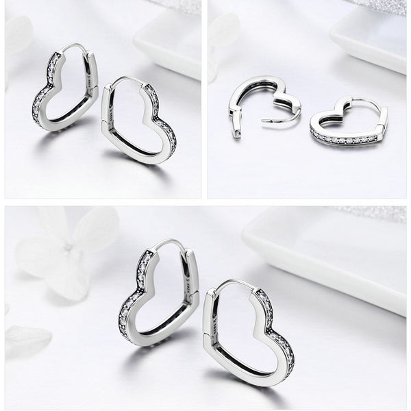 925 Sterling Silver Romantic Heart Clear CZ Stud Earrings - ALLUNIK SHOP