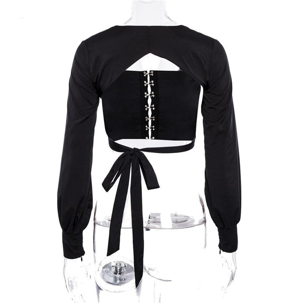 Long Sleeve square neck backless crop top