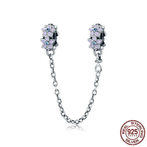 925 Sterling Silver Orchid Flowers Safety Chain - ALLUNIK SHOP