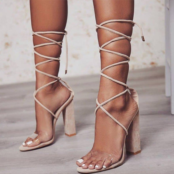 PVC lace up cord Square high heel sandals