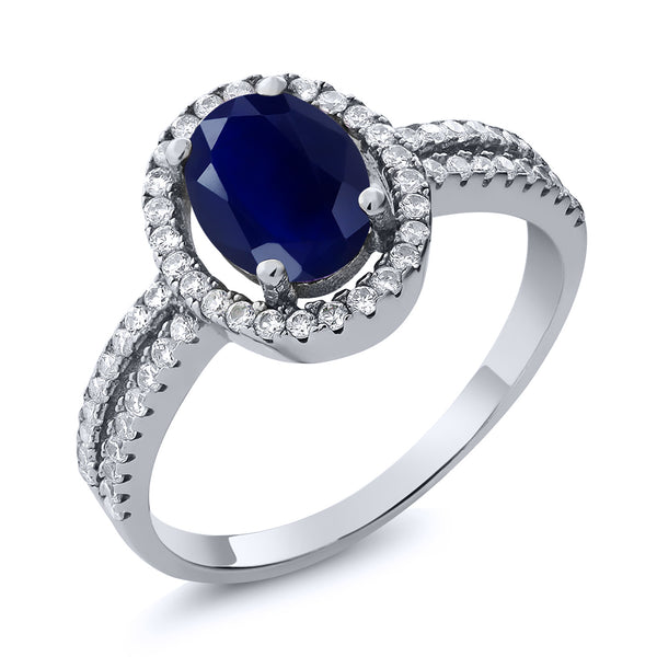 2.55 Ct Oval Natural Blue Sapphire & zircon 925 Sterling silver Engagement Halo Ring