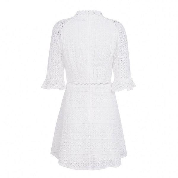 Elegant hollow out Half sleeve white lace dress