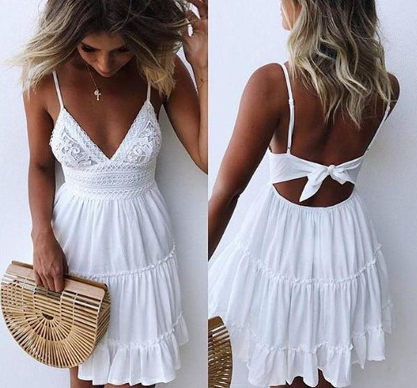 backless Bow Lace Patchwork short dress - ALLUNIK SHOP