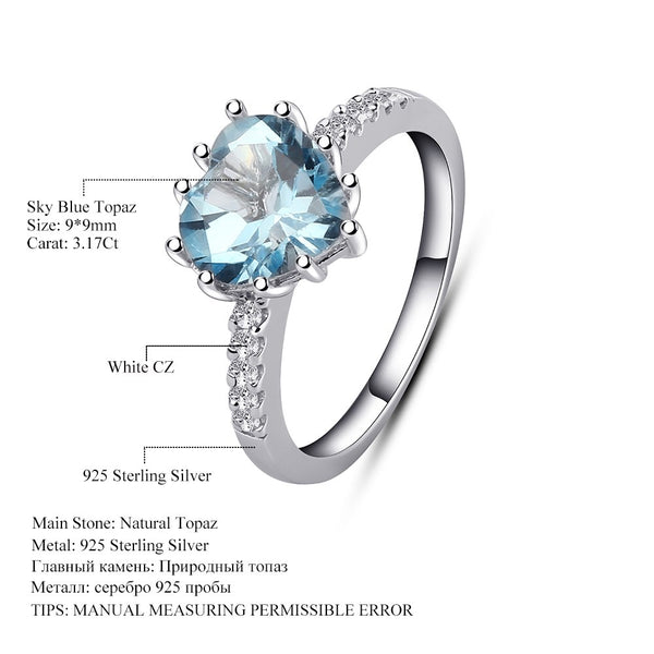 3.17Ct Oval Natural Sky Blue Topaz 925 Sterling Silver Ring