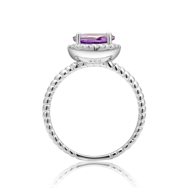 1.79Ct Oval Natural Amethyst Rope Band silver Ring
