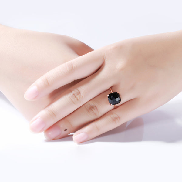 3.75 Ct Checkerboard Square Black Onyx Silver Rose Gold Plated ring