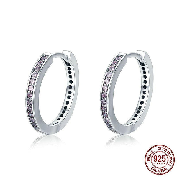 925 Sterling Silver 4 Colors Simple Gold Color Clear CZ Stud Earrings - ALLUNIK SHOP