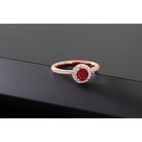 0.74 Ct Round Red Ruby & swarovski zircon 18K Rose Gold Plated Silver Engagement Ring