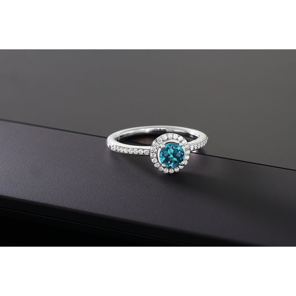 0.69 Ct Round Natural London Blue Topaz & Swarovski Zircon Silver Ring