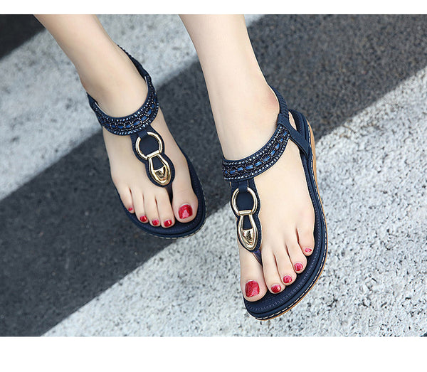 Bohemian simple Rhinestone Flat Sandals - ALLUNIK SHOP