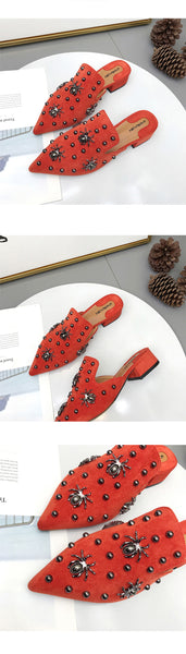Pointed Toe Spider Decoration Heeled mules