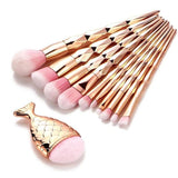 11Pcs Mermaid Fishtail Shape Diamond Rose Gold Makeup Brushes Set