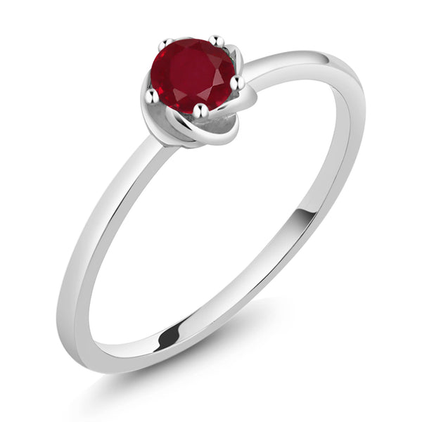 10K White Gold 0.22 Ct Round Red Ruby Solitaire Engagement Ring