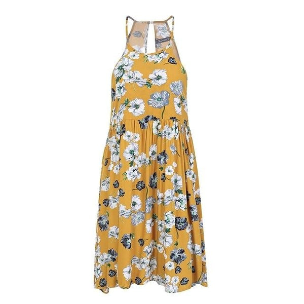 Halter neck floral print mini yellow dress