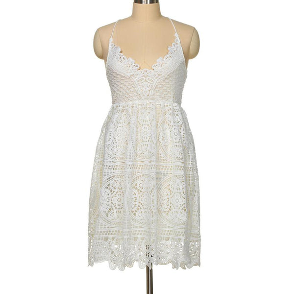 Deep V Lace midi white dress