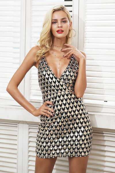 Backless zipper sequin strap v neck party short dress