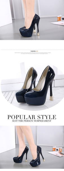Slip-On Platform fashion gold heel Shinny black pumps