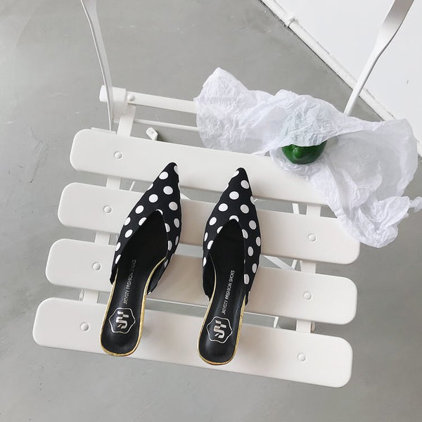 Polka dots pointed toe black white Heeled Mules