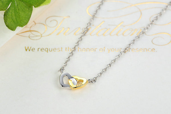 925 Sterling Silver & Gold Color United in Love Heart Necklace - ALLUNIK SHOP
