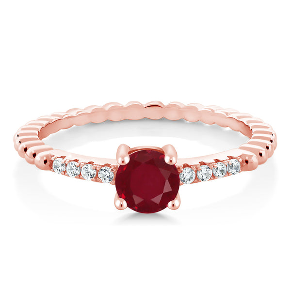 0.63 Ct Round Red Ruby & Swarovski zircon 18K Rose Gold Plated Silver Ring