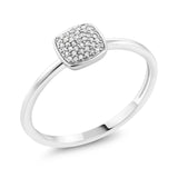 10K White Gold 0.062 CT Natural White Diamond Square Engagement Ring