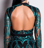Long Sleeve Sequin Backless Hollow Out short Party Dress
