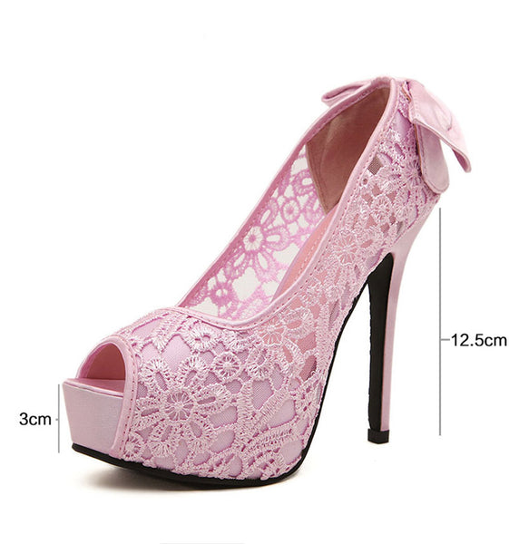 Peep Toe Lace Elegant Bow tie crystal Party heels
