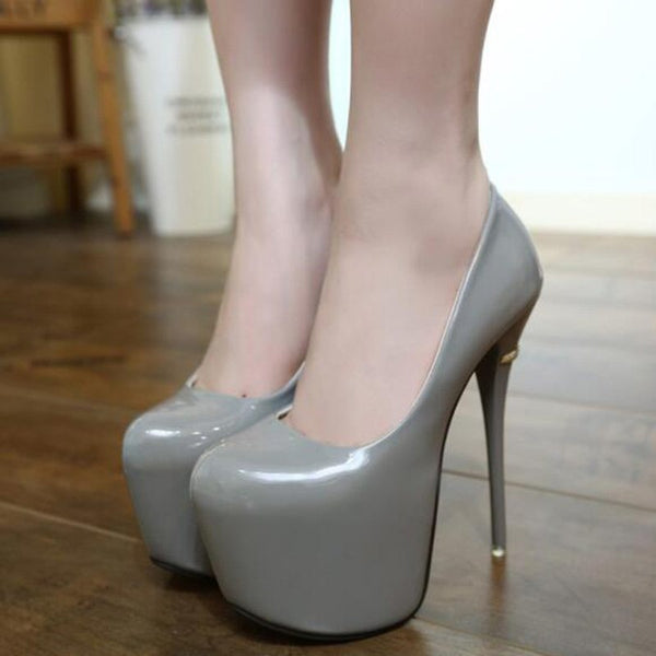 16cm PU Leather extreme 7cm platform gold heel decoration grey Pumps