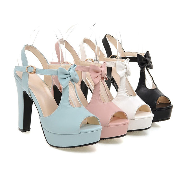 Cute Sweet Bow tie Ankle Strap Platform High Heels