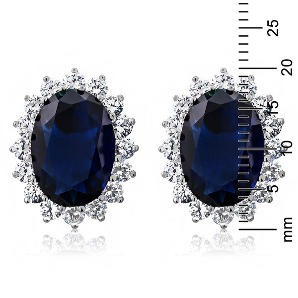 15.00 Ct Oval Created Sapphire & Zircon 925 Sterling Silver Princess Diana Stud Earrings