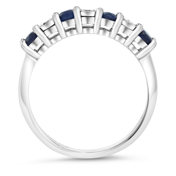 0.029 Ct Round Sapphire & White Diamond 925 Sterling Silver Engagement Ring