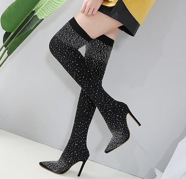 Black Over The Knee rhinestone pointed toe High Heels Boots