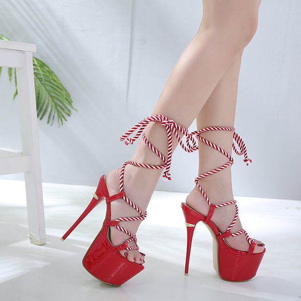 Red rope lace up platform high heels