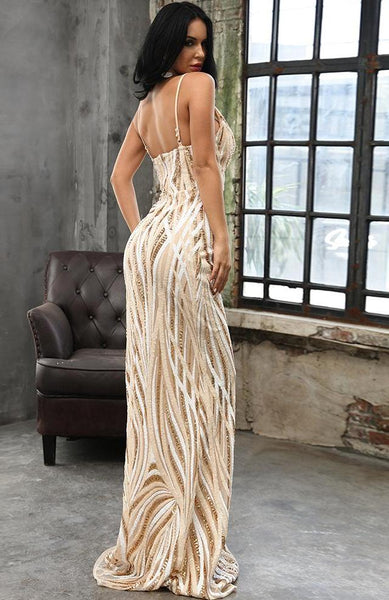 Graceful V Neck Off Shoulder Sequin Maxi Party Dress