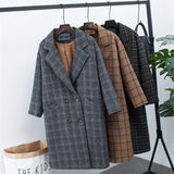 Turn down collar plush thick velvet Plaid vintage long loose coat