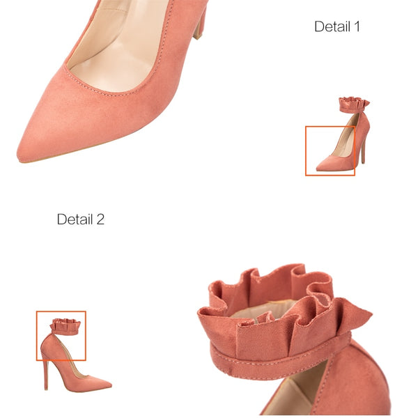 Pointed Toe Elegant Ruffles Buckle Strap 12 CM High Heels
