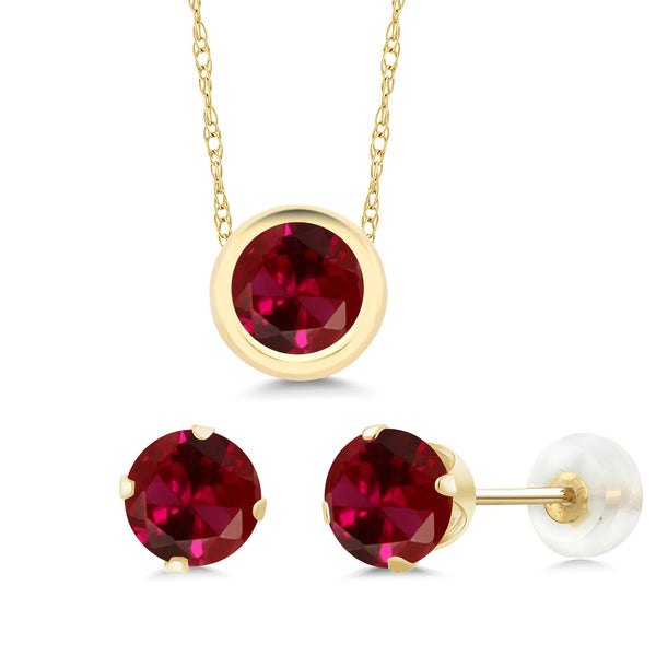 3.00 Ct 6mm Round Red Created Ruby 14K Yellow Gold Jewellery Set