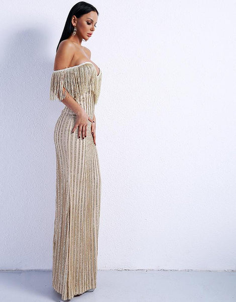 Elegant V Neck Off Shoulder Tassel Glitter High Split Maxi party Dress