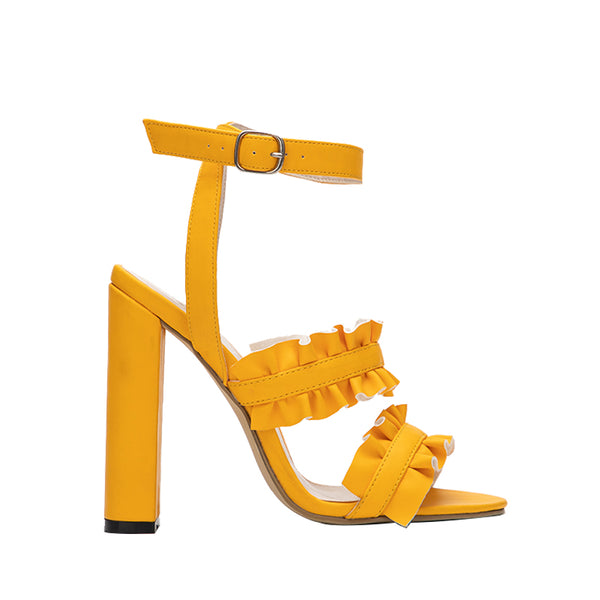 Ruffles Pu leather Buckle Strap Square Heel Fashion high heels