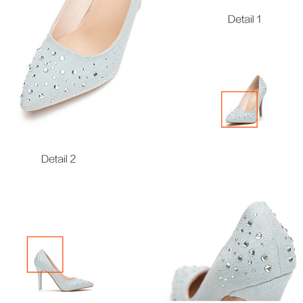 Rhinestones Blue Shoes Denim Slip-On Thin Heel Pointed Toe High Heels
